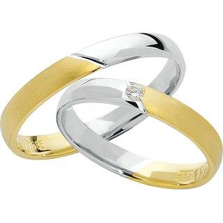 ... Trauringe Gelb-Weiß » Trauringe Gelbgold/Weißgold mit Brillant *2