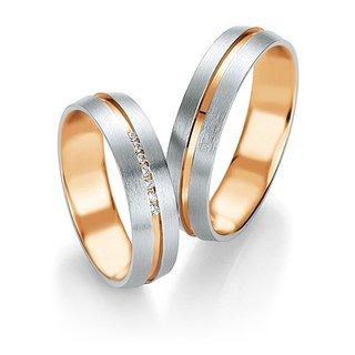 Eheringe zweifarbig 375er Weißgold/Rotgold mit Diamant *3